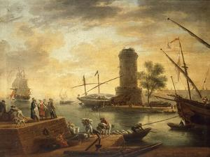 A Mediterranean Harbour Scene at Sunset by Claude Joseph Vernet
