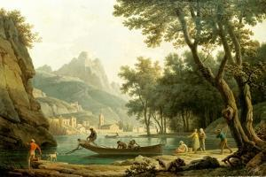 Fischermen by a lake, a cloister in the background by Claude Joseph Vernet