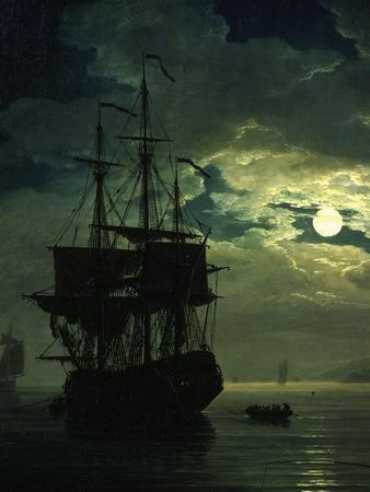 La Nuit Un Port De Mer Au Clair De Lune (Night Sea Port in Moon Light), 1771 (Detail)
