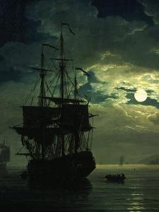 La Nuit Un Port De Mer Au Clair De Lune (Night Sea Port in Moon Light), 1771 (Detail) by Claude Joseph Vernet