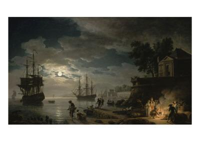La Nuit : un port de mer au clair de lune
