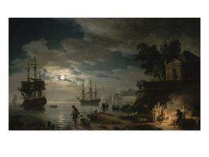 La Nuit : un port de mer au clair de lune by Claude Joseph Vernet