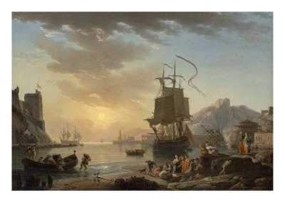 Marine, soleil couchant