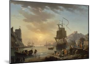 Marine, soleil couchant by Claude Joseph Vernet