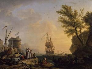Port de mer au soleil couchant by Claude Joseph Vernet