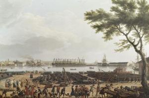 Première vue de Toulon, vue du pont-neuf prise à l'angle du parc d'artillerie by Claude Joseph Vernet