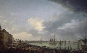 Première vue du port de Bordeaux, prise du côté des salinières by Claude Joseph Vernet