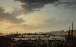 Troisième vue de Toulon, vue du vieux port, prise du côté des magasins au vivres by Claude Joseph Vernet