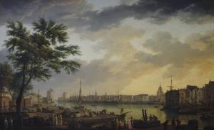 Vue du port de la Rochelle by Claude Joseph Vernet