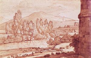 Landscape with a River, a Herd of Cattle and a Herdsman (Pen, W/C and Bistre Wash) by Claude Lorraine