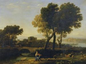 Landscape with Apollo Guarding the Cattle of Admetus and Mercury Stealing Them by Claude Lorraine