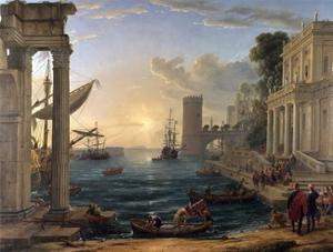Seaport with the Embarkation of the Queen of Sheba by Claude Lorraine