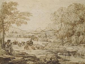 Youth Playing a Pipe in a Pastoral Landscape by Claude Lorraine