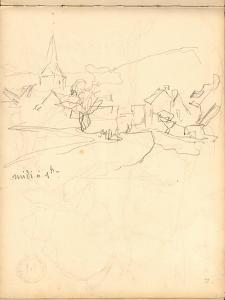 Bennecourt (Pencil on Paper) by Claude Monet
