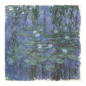 Blue Water Lilies Between, c.1916-1919 by Claude Monet