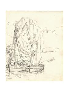 Boats in the Port at Honfleur (Pencil on Paper) by Claude Monet