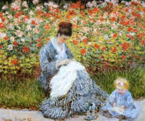 Camille Monet & Child in Artists Garden by Claude Monet