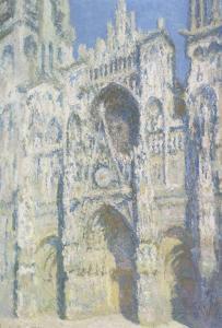 Cathédrale de Rouen, le portail et la tour Saint Romain, plein soleil, harmonie bleue et or by Claude Monet