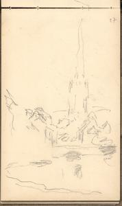 Church of Harfleur and River Lezarde (Pencil on Paper) by Claude Monet