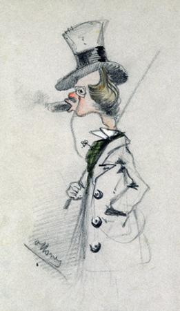 Dandy with a Cigar, 1857 (Pencil on Paper) by Claude Monet