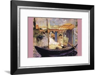 Claude Monet Dans Son Bateau Atelier-Edouard Manet-Framed Art Print