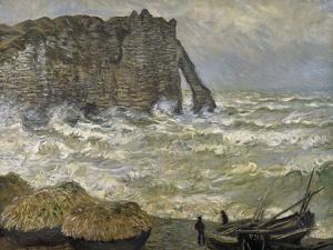 Etretat, mer agitée by Claude Monet