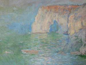 Etretat, the Cliff, Reflections on Water; 1885 by Claude Monet