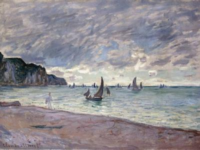 Fishing Boats in Front of the Beach and Cliffs of Pourville, 1882 by Claude Monet