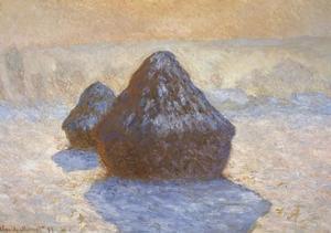 Haystacks - Snow Effect by Claude Monet