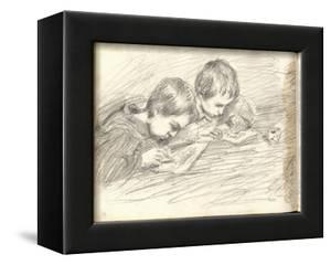 Jean-Pierre Hoschede (1877-1961) and Michel Monet (1878-1966) Drawing (Pencil on Paper) by Claude Monet