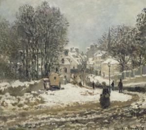 L'entrée de la Grande-Rue à Argenteuil, l'hiver by Claude Monet