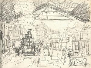 La Gare Saint-Lazare (On the Suburban Side) (Pencil on Paper) by Claude Monet