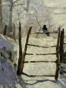 La Pie, the Magpie, 1868-69, Detail. Painted at Etretat, France by Claude Monet