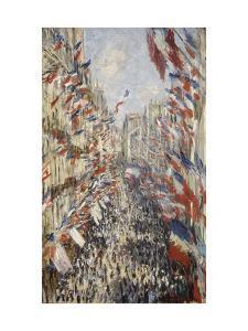 La Rue Montorgueil à Paris fête du 30 juin 1878 by Claude Monet