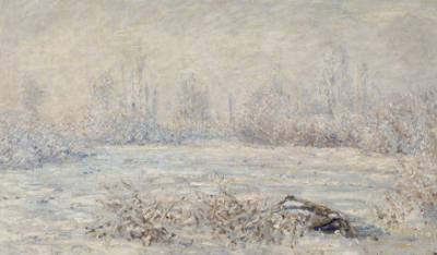 Le givre, pr?de V?euil by Claude Monet
