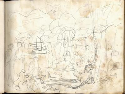 Lunch on the Grass (Pencil on Paper) by Claude Monet