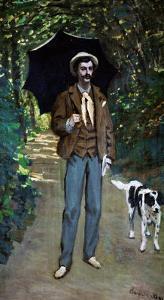 Man with Umbrella, Portrait of V. Jaquemont, Around 1868 by Claude Monet