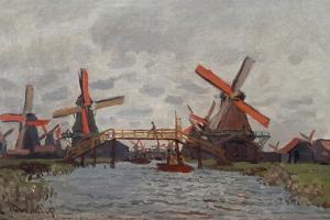 Mills at Westzijderveld Near Zaandam, 1871 by Claude Monet
