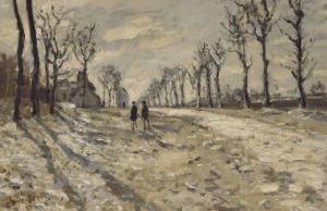 Neige au  soleil couchant by Claude Monet