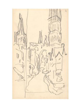 Rouen Cathedral, the Calende Portal and the Central Tower (Pencil on Paper)