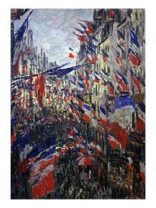 Rue St Denis in Paris During Patriotic Festival of June 30, 1878 by Claude Monet