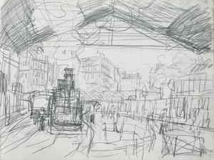 Sketch of the Interior of the Gare Saint-Lazare (Pencil on Paper) by Claude Monet