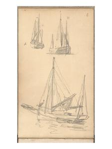 Study of Boats (Pencil on Paper) by Claude Monet