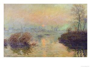 Sun Setting Over the Seine at Lavacourt. Winter Effect, 1880 by Claude Monet