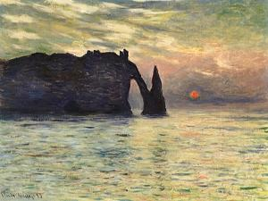Sunset at Etretat, 1883 by Claude Monet