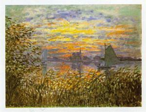 Sunset at Lavacourt by Claude Monet