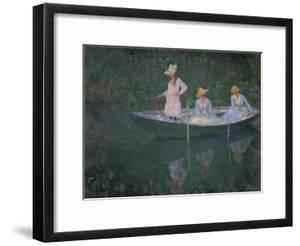 The Boat at Giverny (Or) the Norwegians, the Three Daughters of Mme. Hoschede by Claude Monet