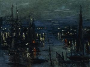 The Port of Le Havre, Night Effect; Le Port De Havre, Effet Du Nuit, 1873 by Claude Monet