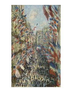 The Rue Montorgueil in Paris Celebration of June 30, 1878 by Claude Monet
