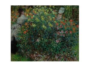Two Women among the Flowers, 1875 by Claude Monet